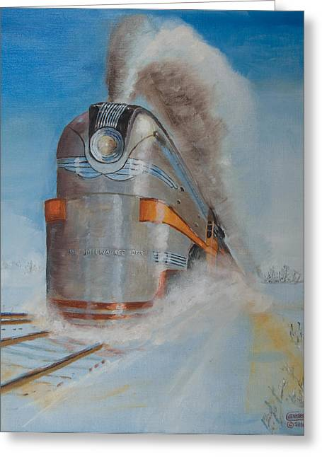 Trains Paintings Greeting Cards - 104 MPH in the Snow Greeting Card by Christopher Jenkins