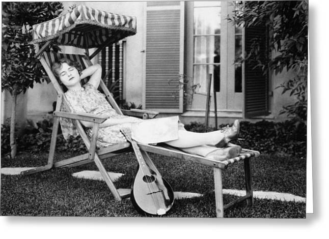 Lawn Chair Greeting Cards - Silent Film Still: Woman Greeting Card by Granger