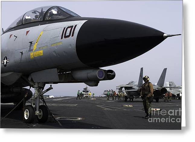Grumman Greeting Cards - An F-14d Tomcat On The Flight Deck Greeting Card by Gert Kromhout
