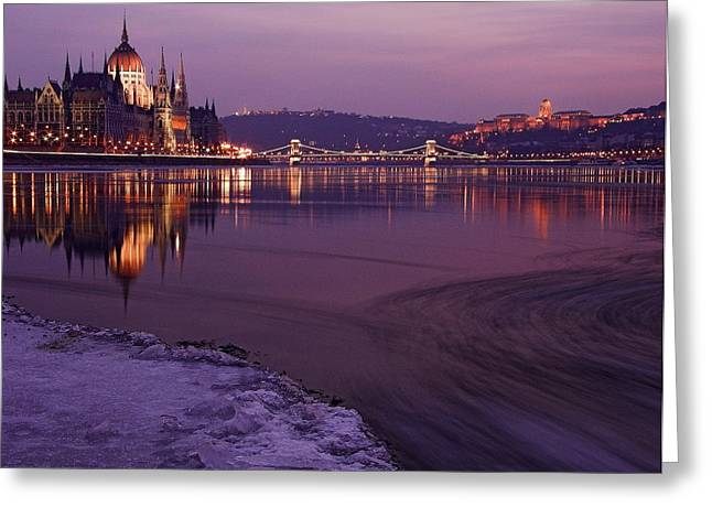 Historic Ship Greeting Cards - Budapest by night Greeting Card by Odon Czintos