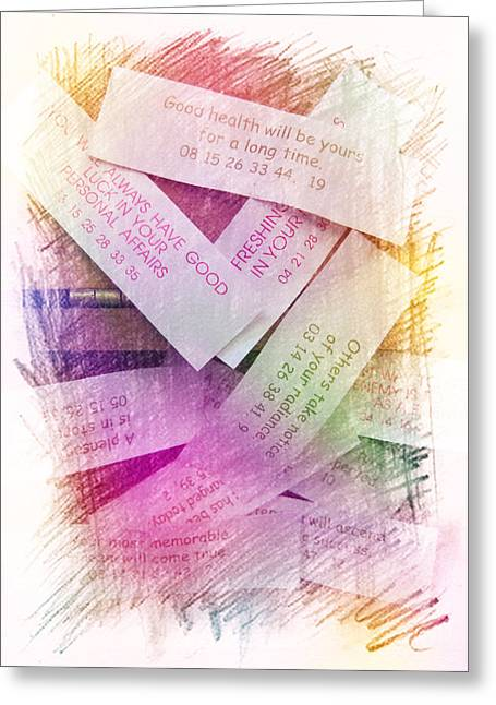 Good Karma Greeting Cards - Fortune Cookie Wisdom Greeting Card by J Burns