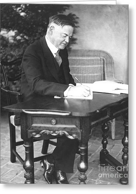 Herbert Hoover Greeting Cards - Herbert Hoover (1874-1964) Greeting Card by Granger