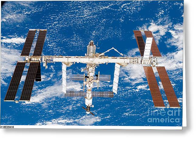 Iss Greeting Cards - International Space Station Greeting Card by Nasa