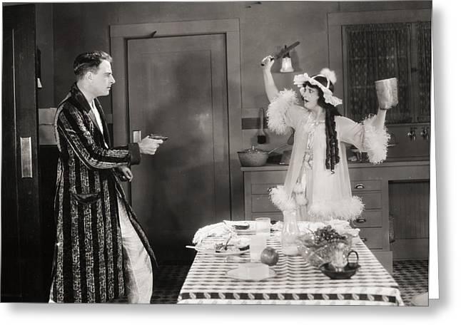 Bathrobe Greeting Cards - Silent Film Still: Guns Greeting Card by Granger