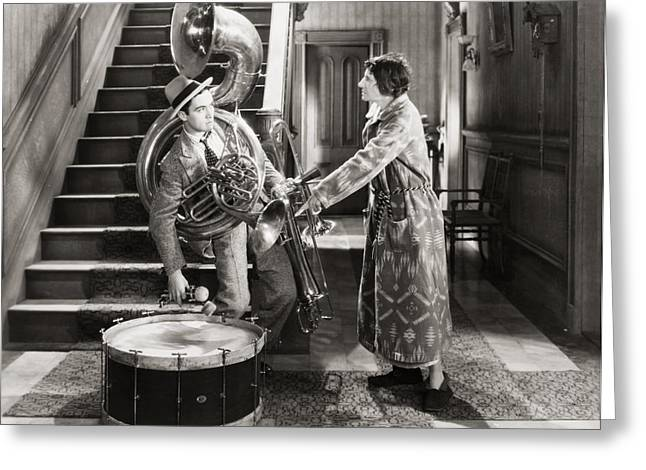 Ecentertainment Greeting Cards - Silent Film Still: Music Greeting Card by Granger