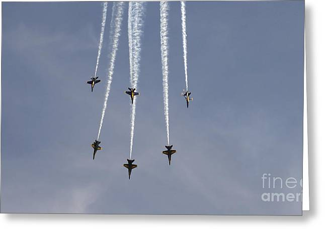 Inverted Color Greeting Cards - The Blue Angels Perform Aerial Greeting Card by Stocktrek Images
