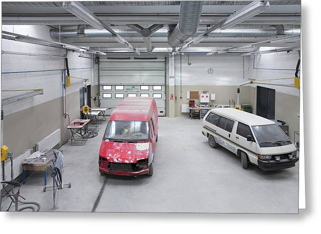 Repair Facility Greeting Cards - The Car Workshop. Mechnical Greeting Card by Jaak Nilson