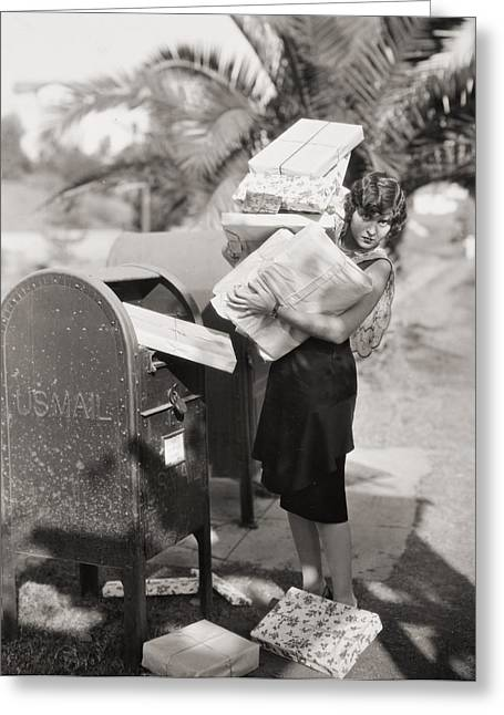 Us Postal Service Greeting Cards - Silent Film Still: Woman Greeting Card by Granger