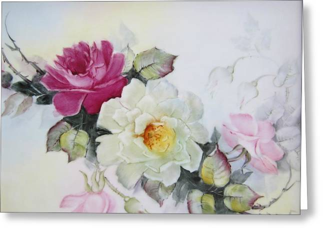 Hand Painted Ceramics Greeting Cards - 1106b pink and white Roses Greeting Card by Wilma Manhardt