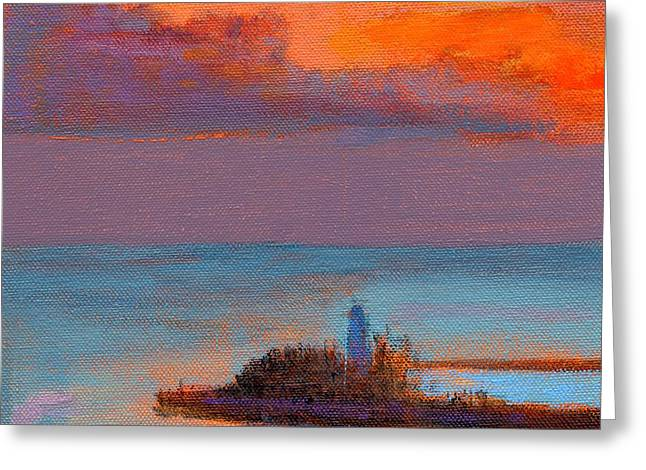 Lighthouse Sunset Greeting Cards - RCNpaintings.com Greeting Card by Chris N Rohrbach