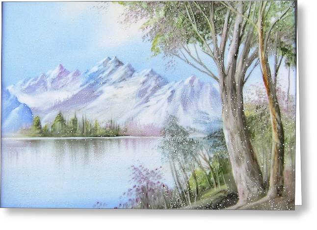 Hand Painted Porcelain Ceramics Greeting Cards - 1116b  Mountain and Lake Greeting Card by Wilma Manhardt