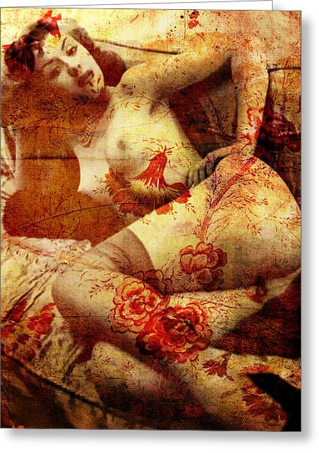 Garter Belt Greeting Cards - Winsome Woman Greeting Card by Chris Andruskiewicz
