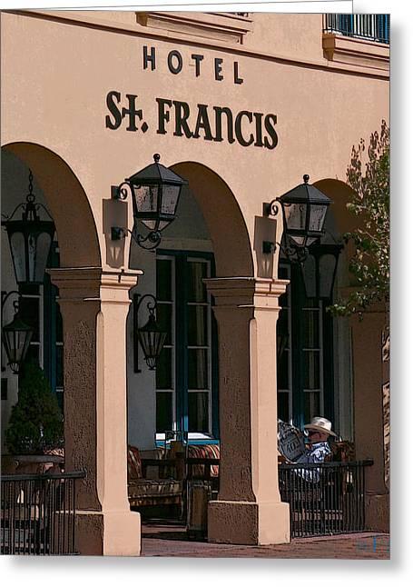 St Francis Hotel Greeting Cards - 11208 Hotel St Francis Santa Fe Greeting Card by John Prichard