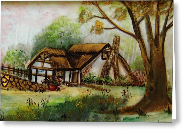 Unique Ceramics Greeting Cards - 1128b Cottage Painted On Top Of Gold Greeting Card by Wilma Manhardt