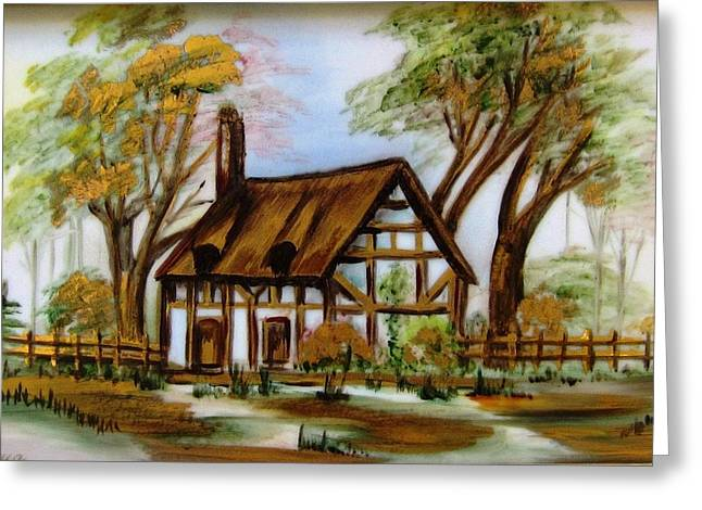 Unique Ceramics Greeting Cards - 1129b Cottage painted on top of gold Greeting Card by Wilma Manhardt