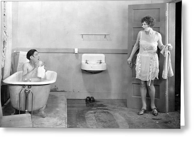 Early Sink Greeting Cards - Silent Still: Man & Woman Greeting Card by Granger