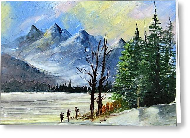 Scenes Ceramics Greeting Cards - 1130b Mountain Lake Scene Greeting Card by Wilma Manhardt