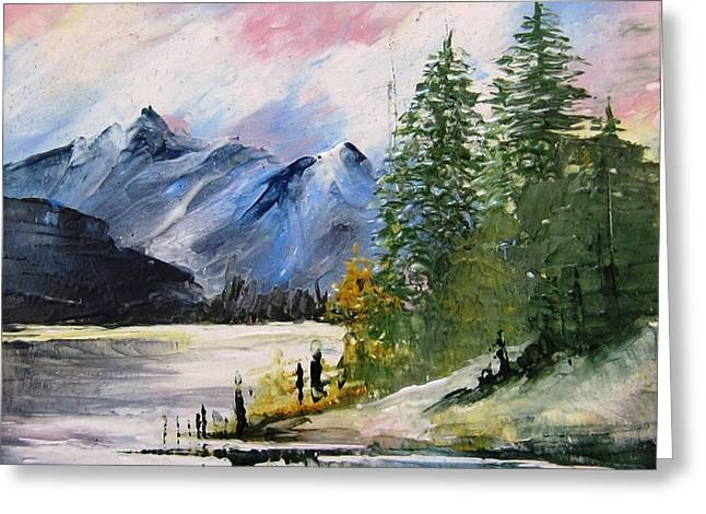 Hand Painted Porcelain Ceramics Greeting Cards - 1131b Mountain Lake Scene Greeting Card by Wilma Manhardt