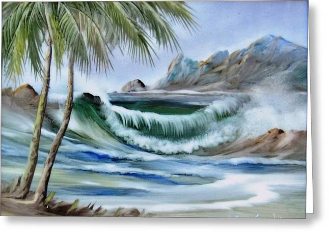 Blue Green Water Ceramics Greeting Cards - 1132b Waterwave Scene Greeting Card by Wilma Manhardt