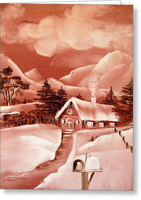 Mountains Ceramics Greeting Cards - 1140b Winter Scene Greeting Card by Wilma Manhardt