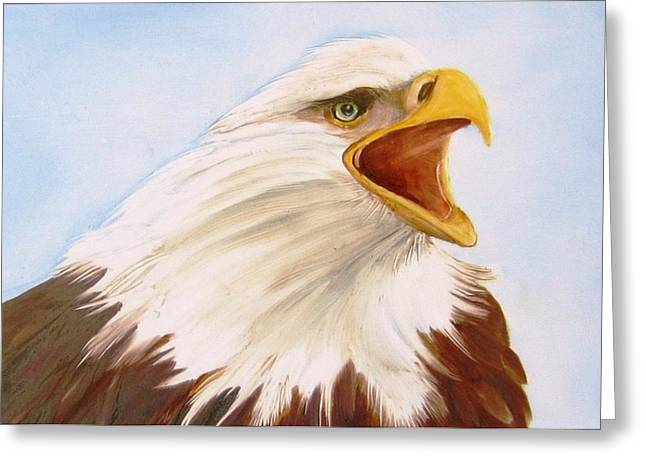 Hand Painted Porcelain Ceramics Greeting Cards - 1148 b  Bold Eagle  2 Greeting Card by Wilma Manhardt