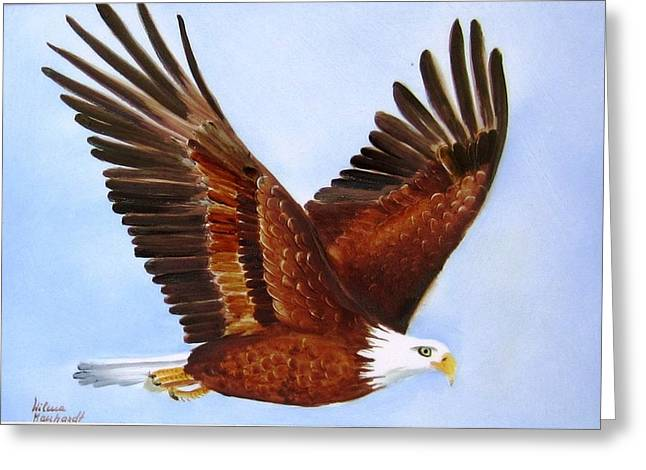 Hand Painted Ceramics Greeting Cards - 1149b  Bold Eagle 3 Greeting Card by Wilma Manhardt