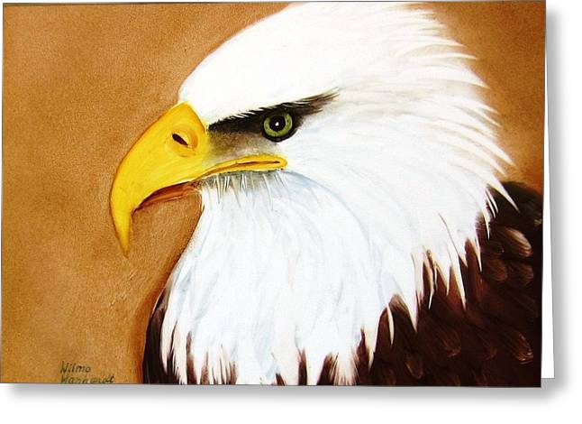 Hand Painted Porcelain Ceramics Greeting Cards - 1150b  Bold Eagle  4 Greeting Card by Wilma Manhardt