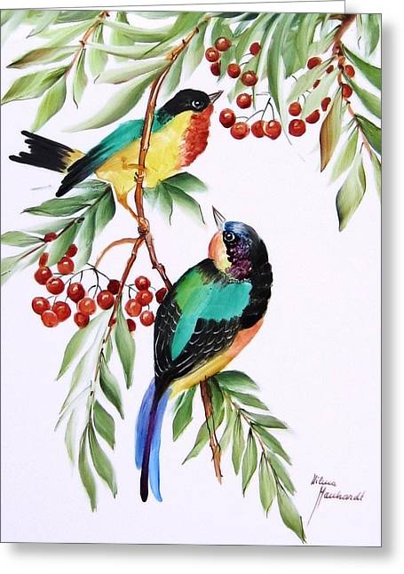 1152 Little Birds And Berries Greeting Card by Wilma Manhardt
