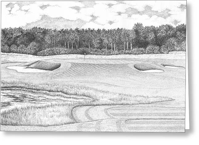 Trump Golf Course Greeting Cards - 11th Hole - Trump National Golf Club Greeting Card by Lawrence Tripoli