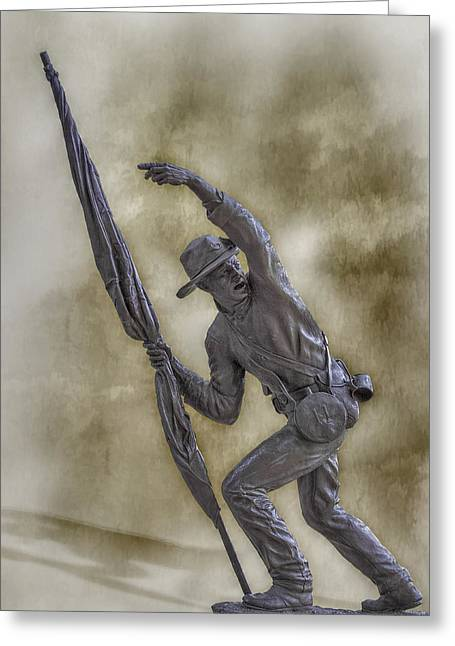 Statue Of Confederate Soldier Greeting Cards - 11th Mississippi Infantry Regiment at Gettysburg Greeting Card by Randy Steele
