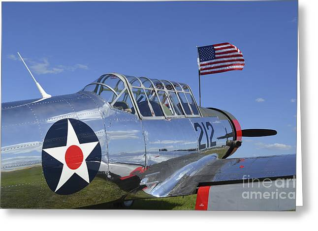 Valiant Greeting Cards - A Bt-13 Valiant Trainer Aircraft Greeting Card by Stocktrek Images