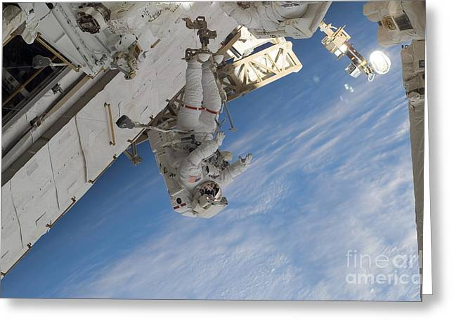 Dexterous Greeting Cards - Astronaut Participates Greeting Card by Stocktrek Images