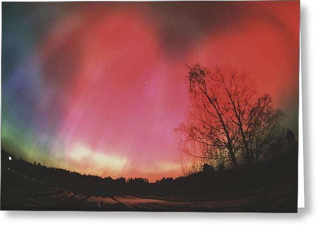 Light Emission Greeting Cards - Aurora Borealis Greeting Card by Pekka Parviainen