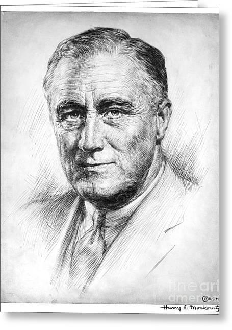 Franklin Roosevelt Greeting Cards - Franklin Delano Roosevelt Greeting Card by Granger