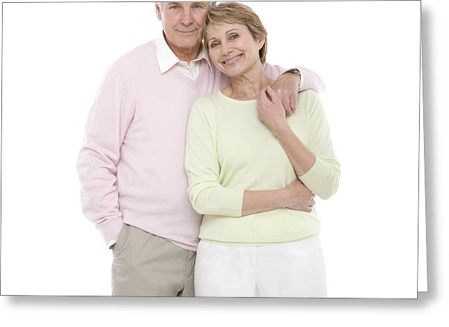 Arm Around Greeting Cards - Happy Senior Couple Greeting Card by