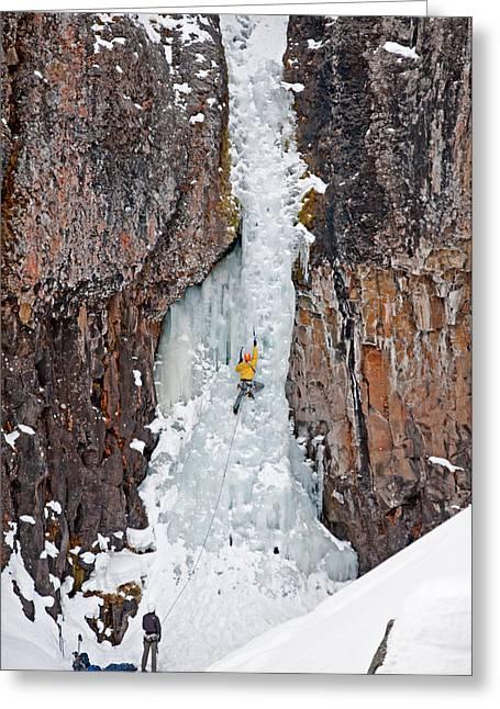 Vertigo Greeting Cards - Ice Climber Greeting Card by Elijah Weber
