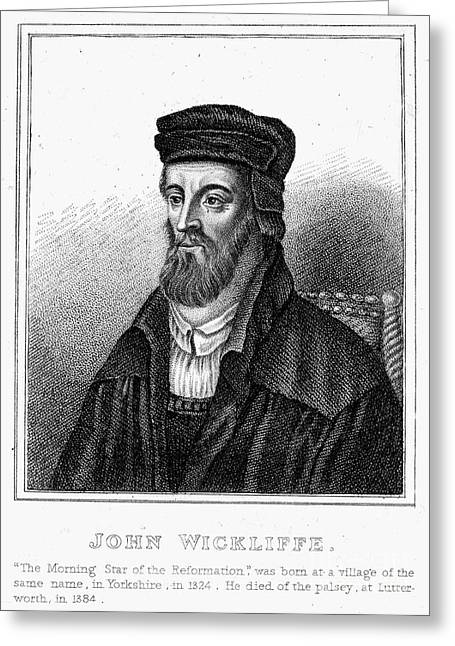Reformer Greeting Cards - John Wycliffe (1320?-1384) Greeting Card by Granger
