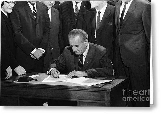 Lyndon Greeting Cards - Lyndon Baines Johnson Greeting Card by Granger