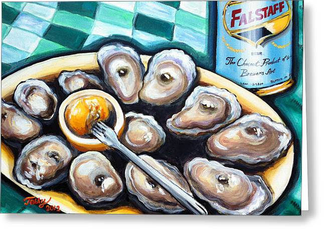 Raw Oyster Greeting Cards - 12 Raw And A Cold Falstaff Greeting Card by Terry J Marks Sr