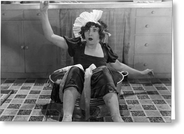 Washtubs Greeting Cards - Silent Film Still Greeting Card by Granger