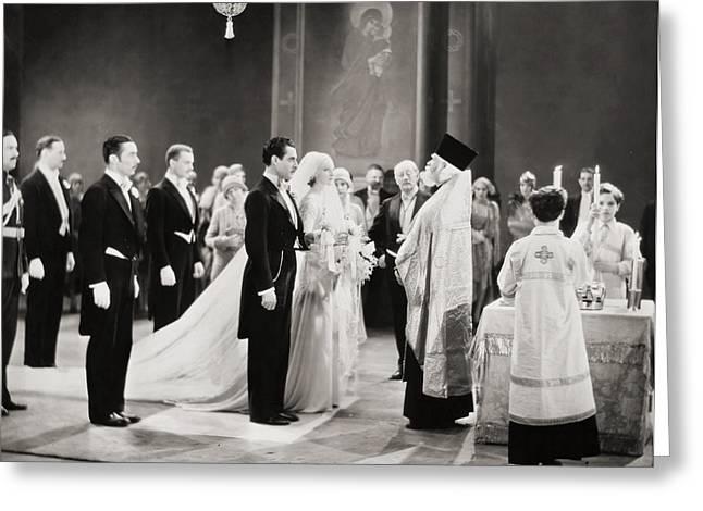 Tuxedo Greeting Cards - Silent Film Still: Wedding Greeting Card by Granger