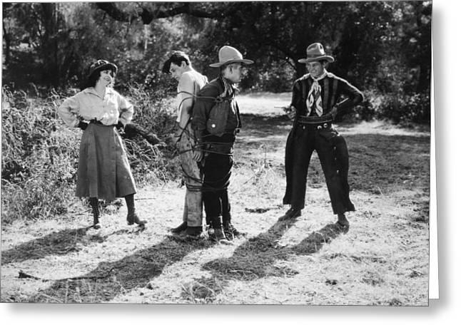 Western Tie Greeting Cards - Silent Film Still: Western Greeting Card by Granger