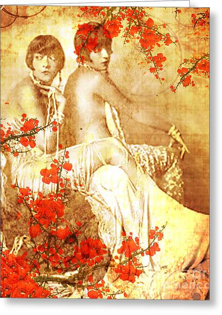 Cherry Blossoms Mixed Media Greeting Cards - Winsome Women Greeting Card by Chris Andruskiewicz
