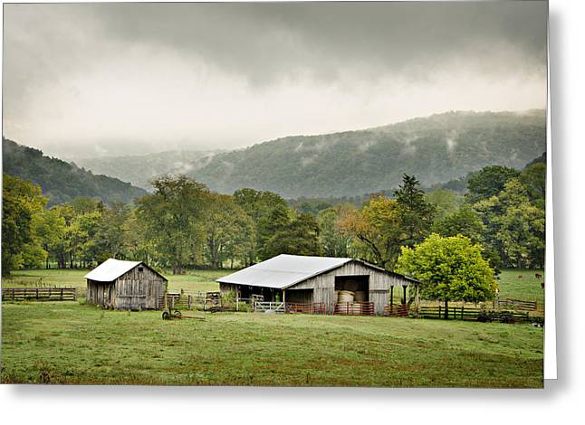 Arkansas Greeting Cards - 1209-1116 - Boxley Valley Barn Greeting Card by Randy Forrester