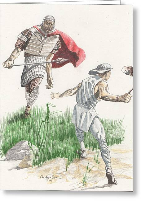 King James Version Greeting Cards - 124 David and Goliath Featured Greeting Card by James Robinson