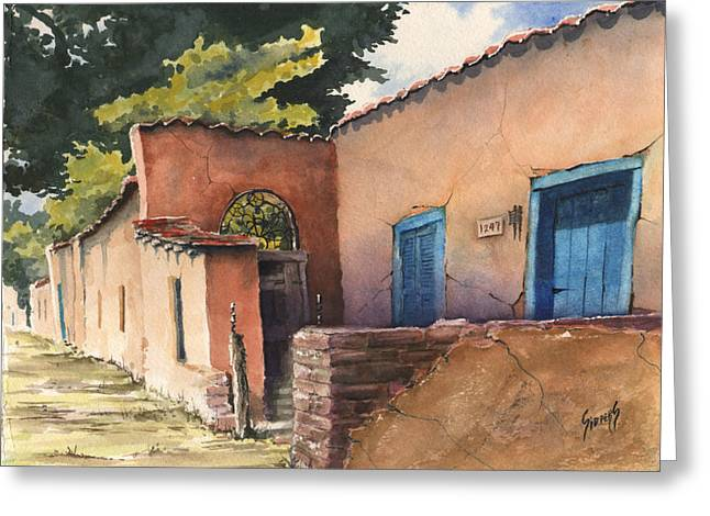 Adobe Greeting Cards - 1247 Agua Fria Street Greeting Card by Sam Sidders