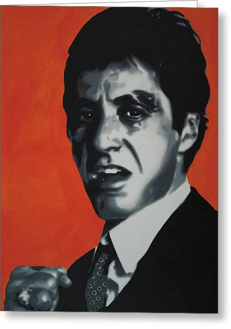 Tony Montana Greeting Cards - - Scarface - Greeting Card by Luis Ludzska