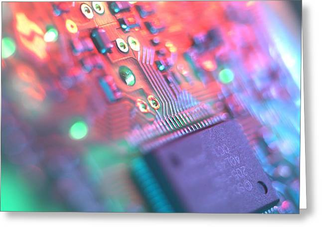 Mother Board Greeting Cards - Circuit Board Greeting Card by Tek Image