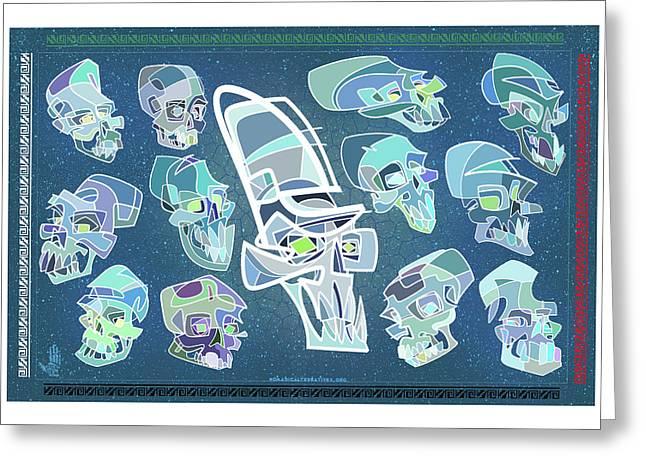 Gypsy Greeting Cards - 13 Crystal skulls Greeting Card by Nelson Dedos Garcia