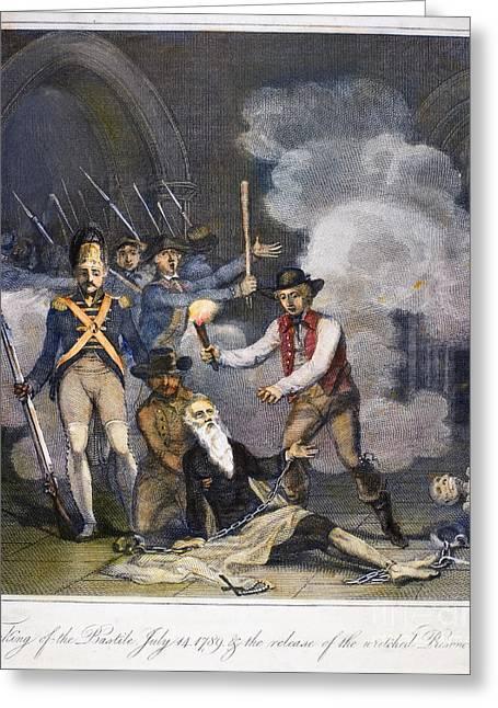 Bastille Greeting Cards - French Revolution, 1789 Greeting Card by Granger